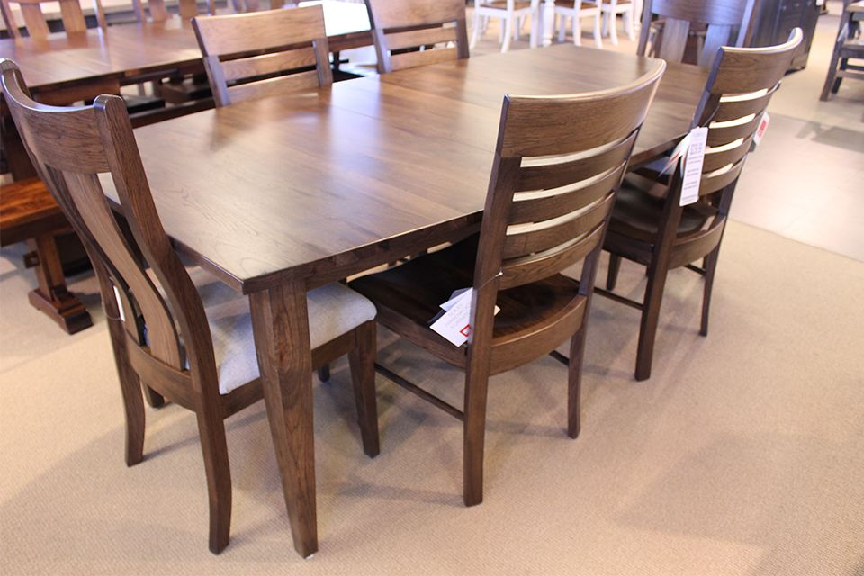 Rustic Hickory Shaker Dining Table with Two 12
