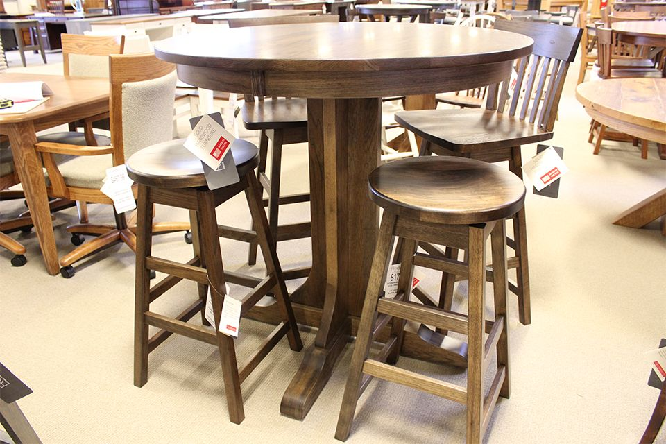 Hickory Pedestal Bar Height Table