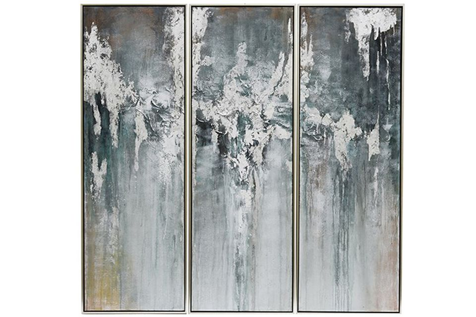 Blossom Mist Framed Painted Canvas (Set of 3)