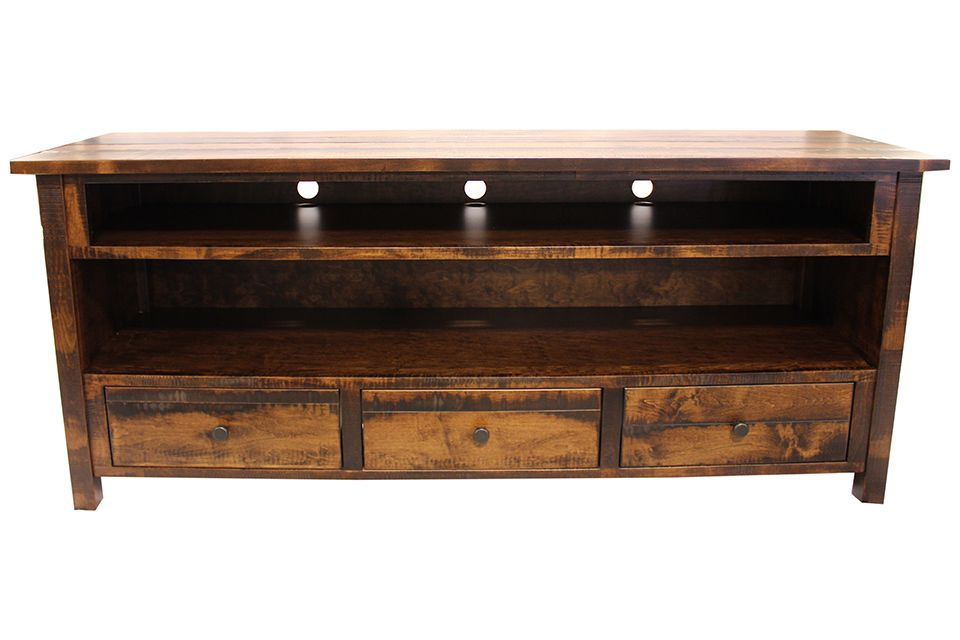 Rough Sawn Brown Maple TV Stand